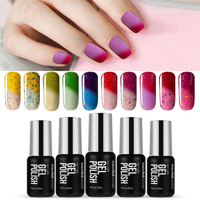 Modelones 7ML Change Color Gel Nail Enamel Need UV Lamp GelPolish Temperature Thermo