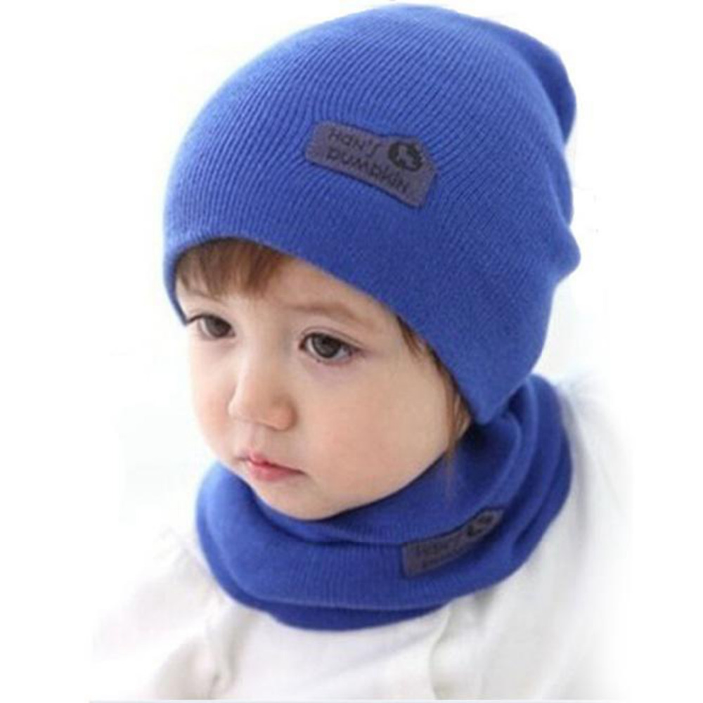 New 2017 Boys Girls Children Cap + Scarf Suit Candy Colored Hats Hat dieren muts high quality cachecol cappello e sciarpa #0
