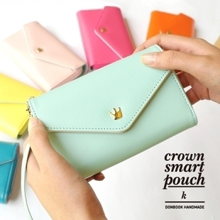 1Pcs/Free shipping 2013 new update PU Leather Crown donbook Smart Pouch bag /mobile phone bag/card case/pu wallet