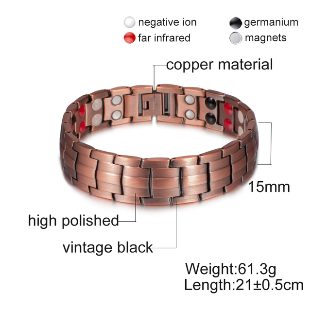 Vinterly Pure  Magnetic Bracelet Copper Vintage Hologram Chain & Link for Men 5