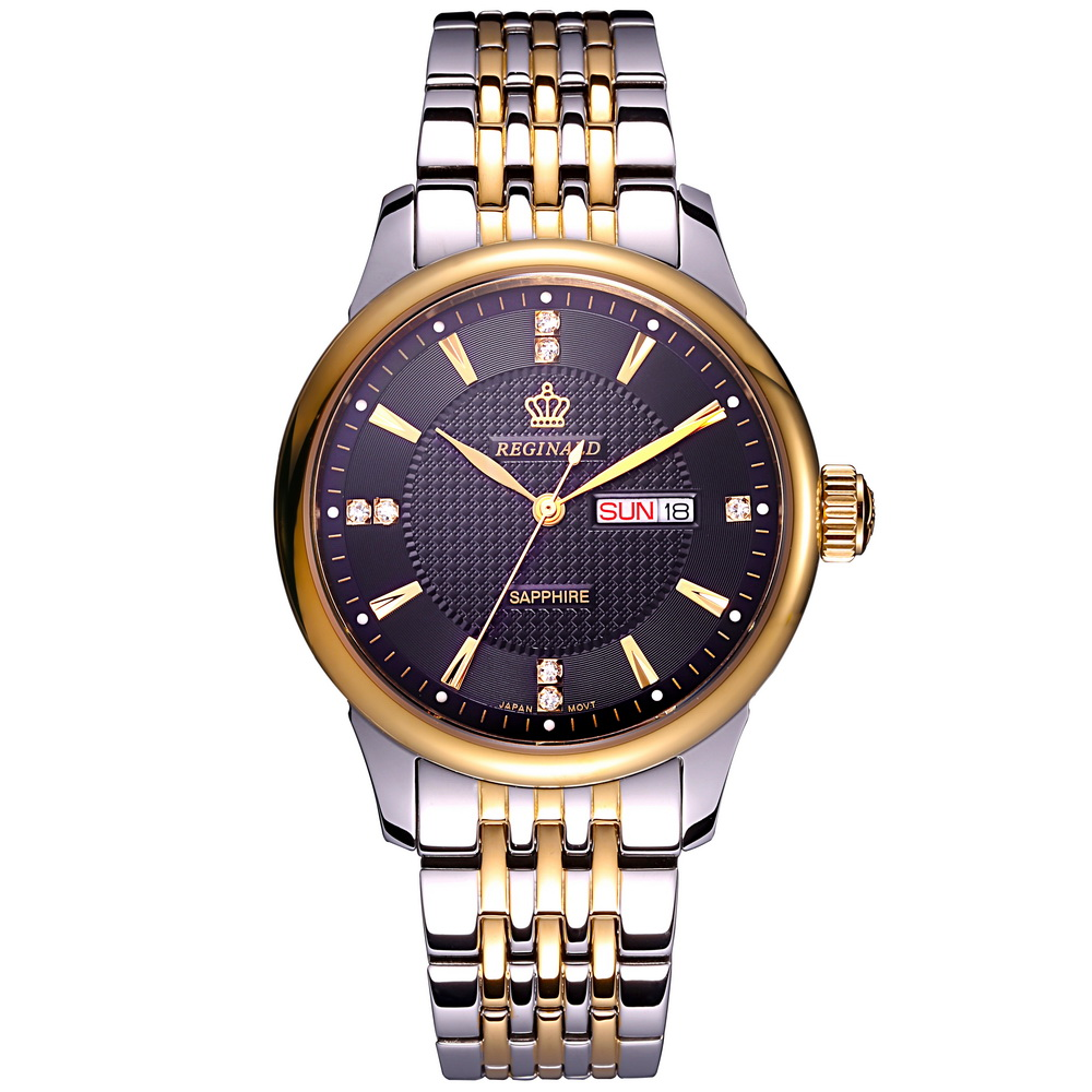 REGINALD Luxury Mens Dress Style Steel Wristwatches Business Casual Men's Waterproof Quartz Watch Sapphire Waterproof Clock