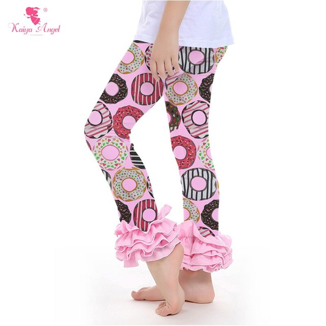 ad3b48d61d67d9 2017 Donut Ruffle Pants Leggings Boutique Clothing Toddler Girl Clothes Ruffle  Icing Pants Floral Chick Flower Pants Wholesale
