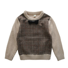 2017 Autumn Winter England Style Plaid Patchwork Boys Sweaters with Bow Tie Children s Kids Warm