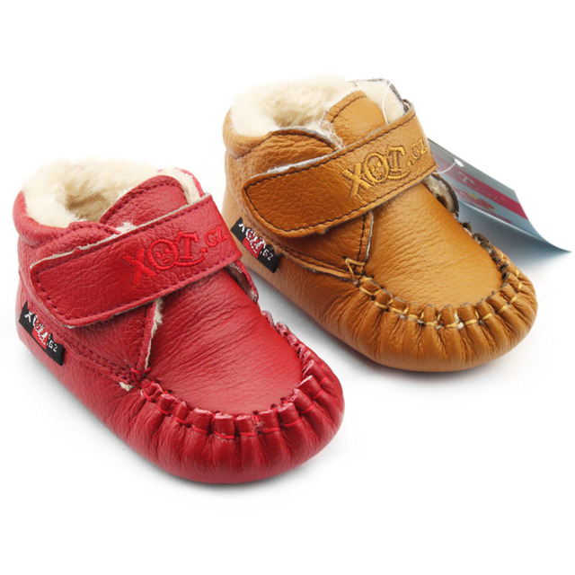 Baby first walkers winter warm cotton shoes breathable genuine leather toddler shoes baby girls boys prewalker shoes