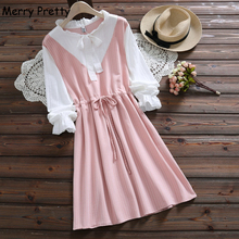 Merry Pretty Women Striped Patchwork A-Line Dress Bow Neck Long Sleeve Female 2019 Summer Sweet Style chic Mini Lace Up Dresses