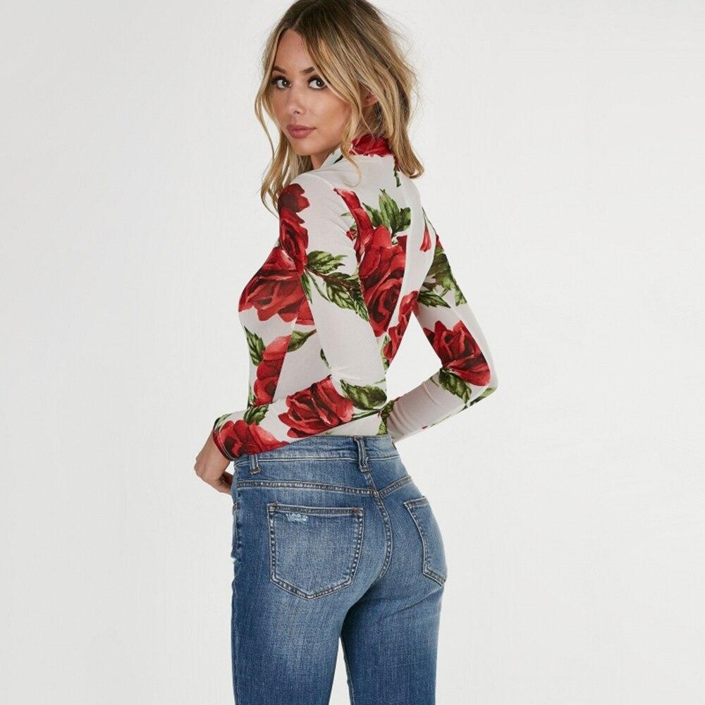Richkoko 2017 Summer Floral Print Turtleneck Bodycon Jumpsuits Women Long Sleeve Sexy Rose Elegant Mesh Slim Summer Bodysuits