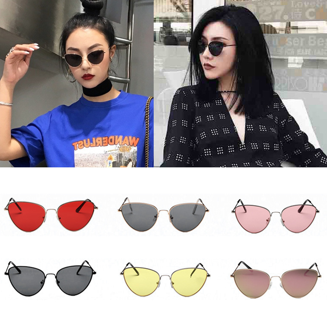Cat eye shade for women fashion sunglasses brand woman vintage retro triangular cateye glasses oculos feminino sunglasses sexy in Women 39 s Sunglasses from Apparel Accessories