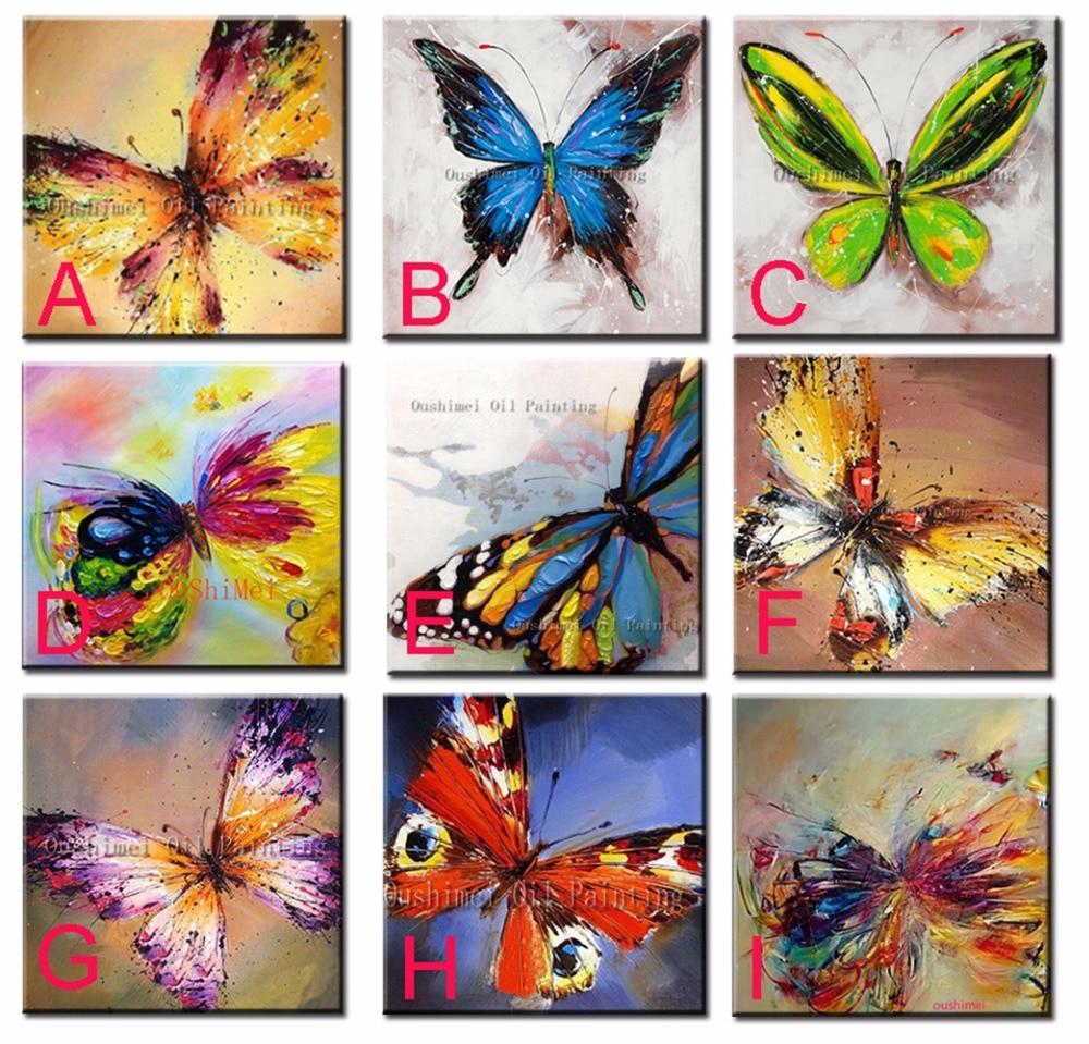 Ručně malovaná zvířata Olejomalba pro obrazy z místnosti Abstrakt Modrá Různé motivy motýlů ŽÁDNÝ Rám Obraz na plátně
