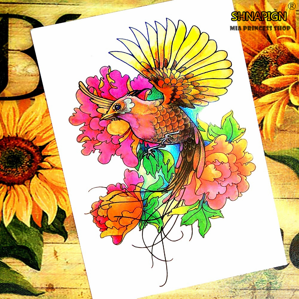 Rooster wings Temporary Tattoo Body Art Flash Tattoo Stickers 12*20cm Waterproof Henna Tatoo Styling Home Decor Wall Sticker