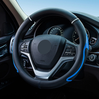Microfiber Leather Car Steering Wheel Covers Comfortable Steering Wheel Wrap Fits 37cm 38cm Car Accessories Black White Blue