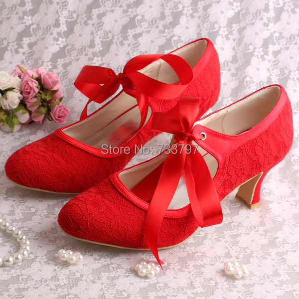 6 Colors Wedopus Custom Handmade Chunky Low Heel Women Shoes for Wedding Red Lace