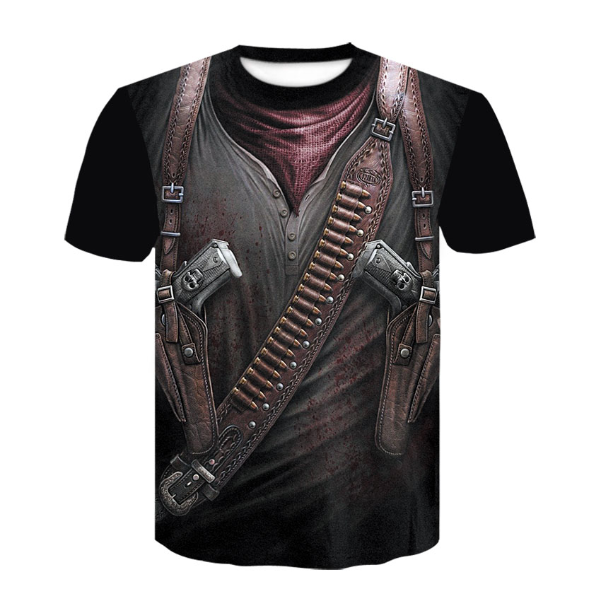 2020 New Cloudstyle Own Design Men's T Shirt 3D Gun Warrior Tshirt Print Knife Harajuku Tops Tee Short Sleeve Fitness T-shirt