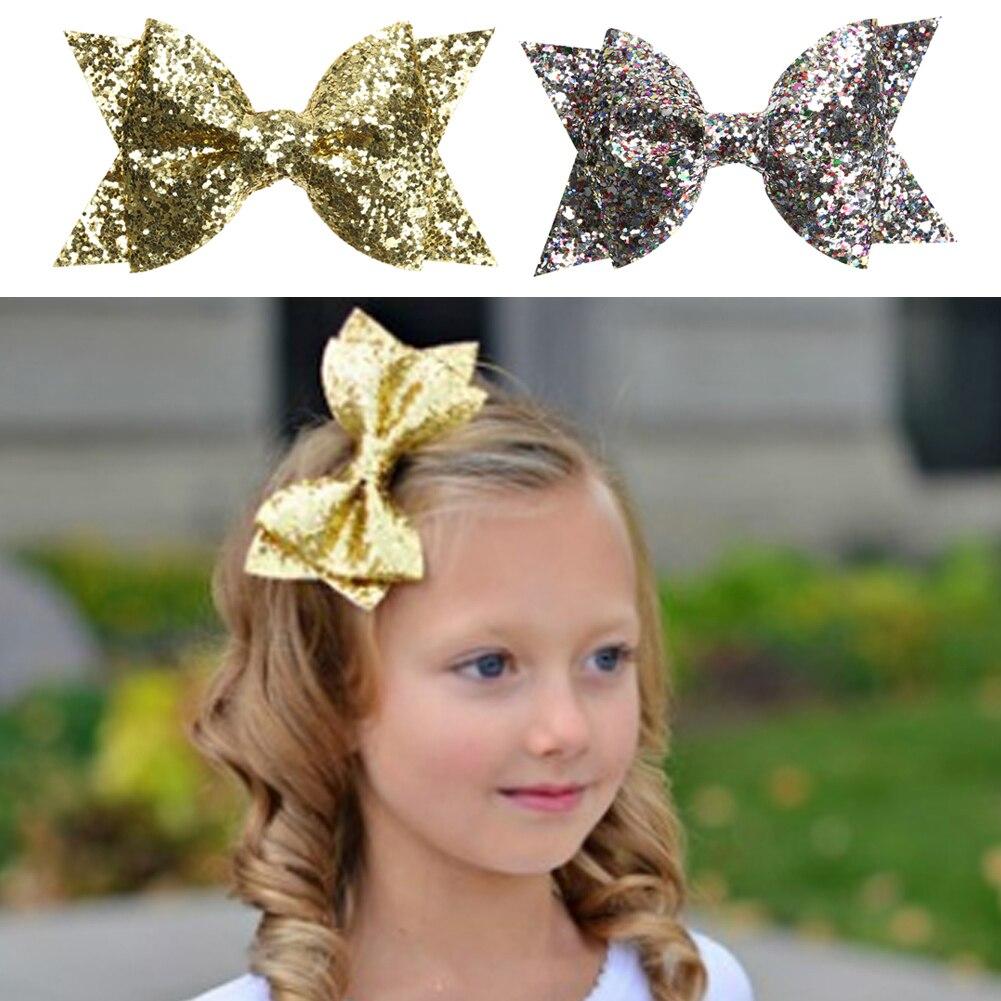 Beautiful baby hair accessories - Girls Bowknot Hair Clip Kids Children Beautiful Glitter Sequins Hair Clamp Baby Boutique Hair Accessories Gold