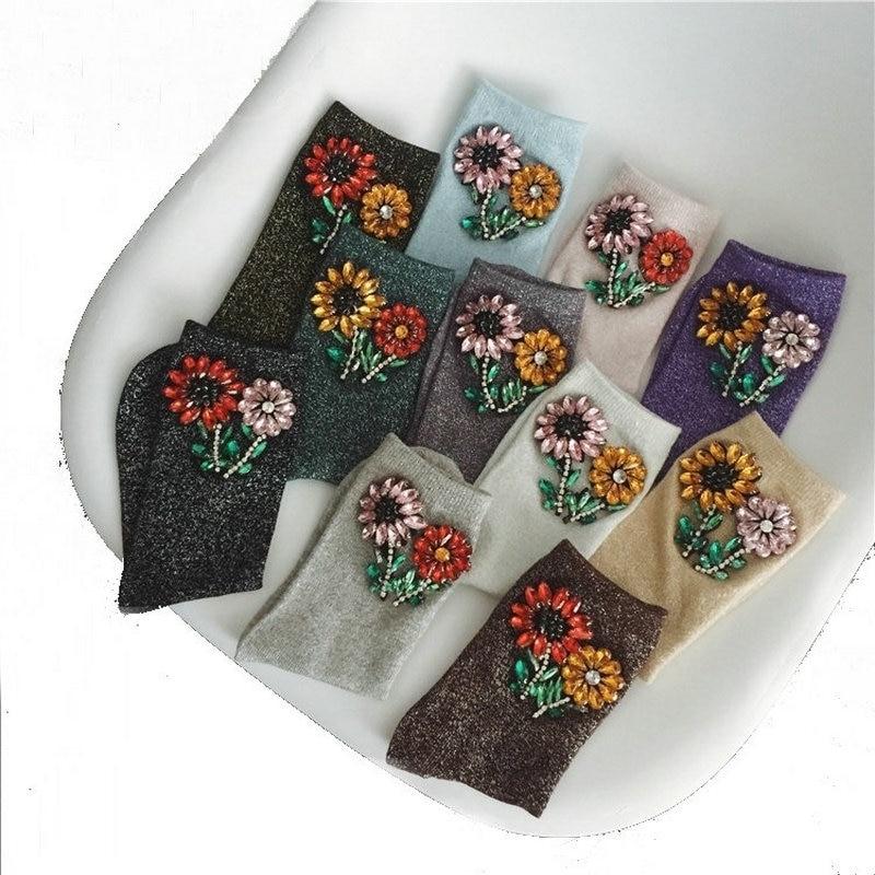 Femmes D'hiver Courtes chaussettes en soie Fleur À La Main Coloré Argent Brillant En Cristal de Tournesol Strass Chaussettes