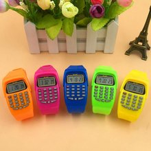 LED Calculator Watch Electronic Digital Chronograph Computer Kids Children Boys Girls Sport Rubber Wrist Watches(China)