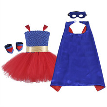 Blue Red Superman Fancy Dress Knee Length O-neck Ball Gown Baby Girl Dress for Girl Birthday Super Hero Cosplay Tutu Party Dress baby blue knee length open back long sleeves organza flower girl dresses with bow baby birthday party gown with pearls crystals