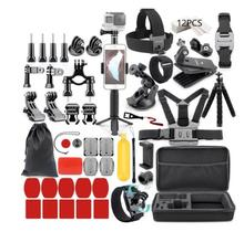 For Gopro Accessories Set for go pro hero 7 6 5 4 3 kit 3 way selfie stick for Eken h8r / for xiaomi for yi EVA case