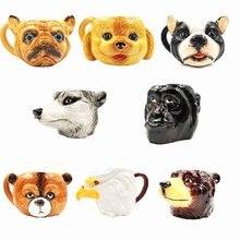 Gemalt 3D Adler Husky Pudel Bulldog Bär Kopf Porzellan Becher Kreative Beast Malerei Keramik Tee Kaffeetasse für Kinder