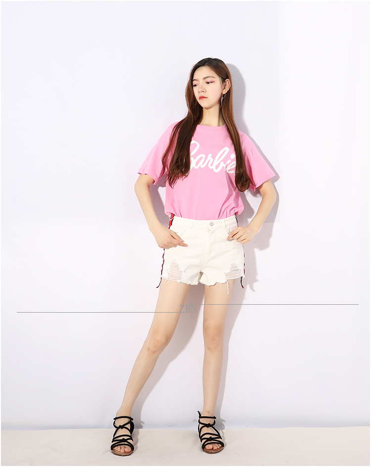 354808afe8c14 2018 Summer Sweet Cute Pink Barbie Print Pink t shirt kawaii clothes flash  sexy half sleeve spring summer Tops plus size-in T-Shirts from Women s  Clothing ...