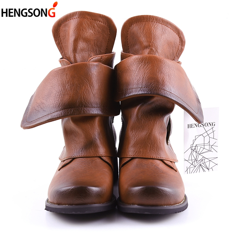 HENGSONG New 2018 Fashion Martin Boots Women PU Leather Boot Casual Square Heel Round Toe Buckle Strap Women Ankle Boots Spring vinlle women boot square low heel pu leather rivets zipper solid ankle boots western style round lady motorcycle boot size 34 43