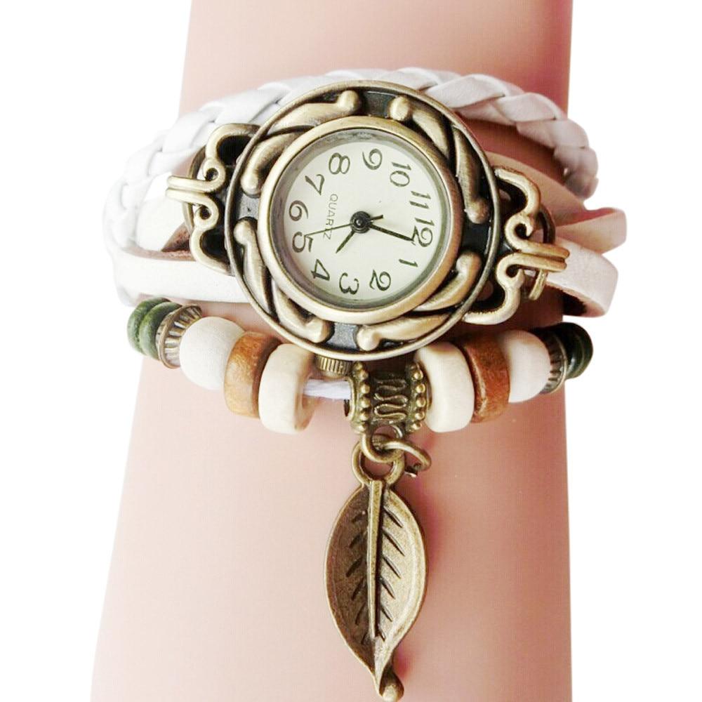 womans Bracelet Watch Leather Strap Leaf Pendant Ladie Watch Retro Simple Quartz Lady Clock Gift Relogi montre dames horloges#W