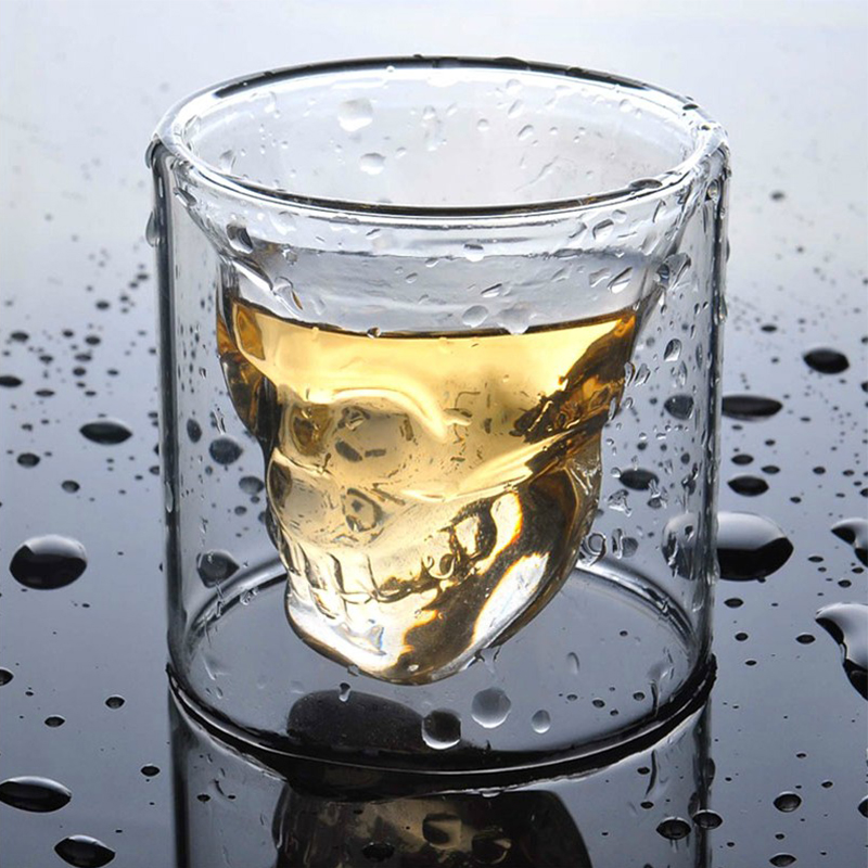 ФОТО anime transparent crystal skull head shot glass cup model for whiskey wine vodka home drinking ware figure toys for gift