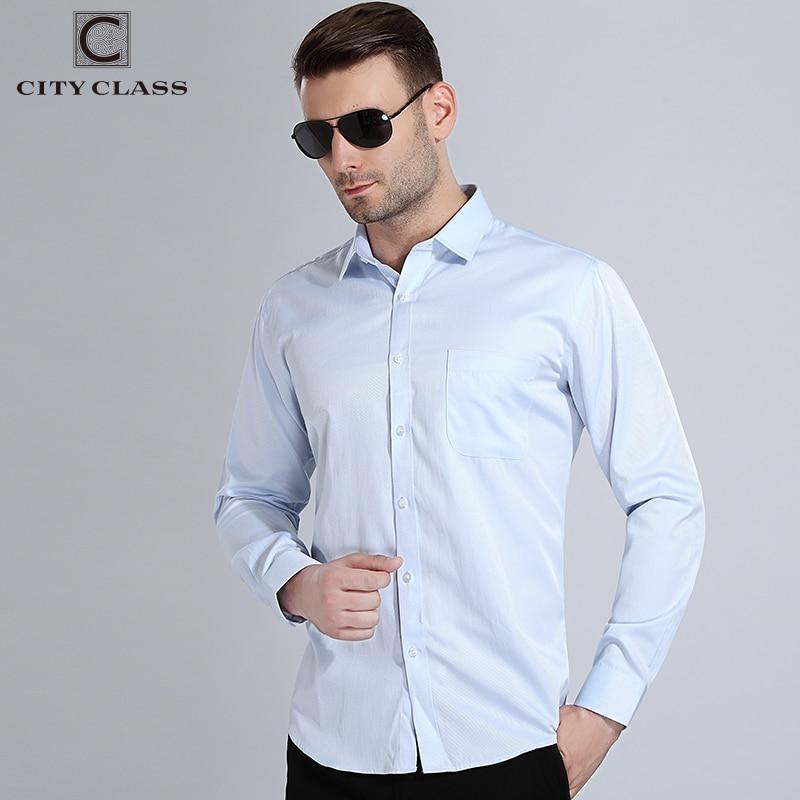City Class 2018 Mens Dress Shirts Big Sizes Long Sleeve Camisa Social Man Shirts High Quality Comfortable Wash Wear Shirt 1007