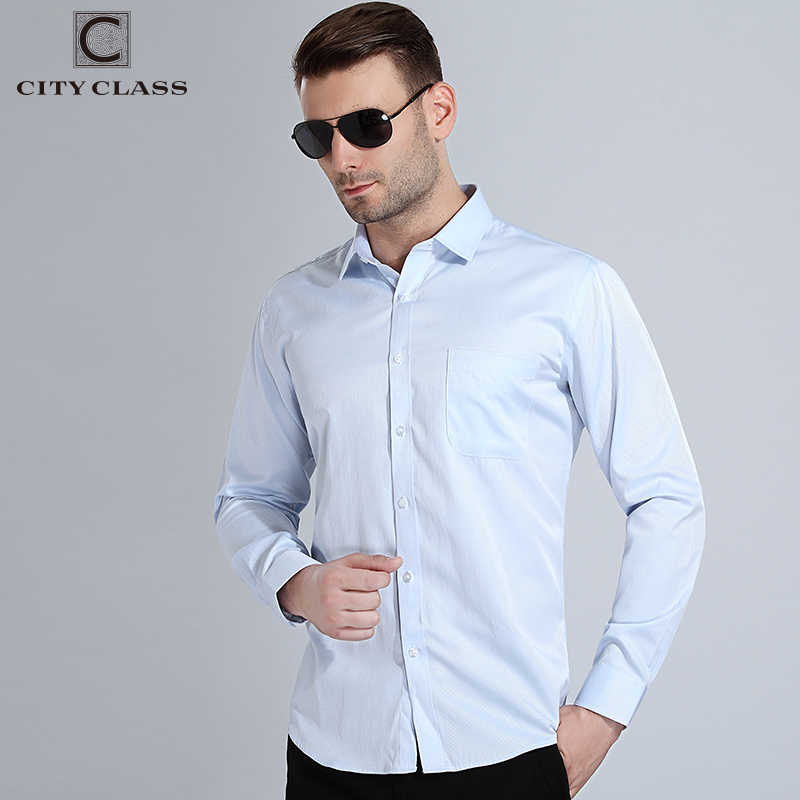 Ciudad clase 2018 camisas de vestir para Hombre Tallas grandes Camisa de manga larga de hombre Social de alta calidad cómoda Camisa de lavado 1007