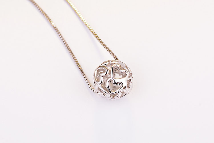 100 925 Sterling Silver Fashion Ball Design Necklaces Short Chain for Women Jewelry Christmas Gift 2017 New Hot Sale Wholesale in Pendant Necklaces from Jewelry Accessories