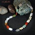 Kcaloe colares de moda para as mulheres 2017 novas jóias de casamento quadrado colorido pedra natural corda choker colar collane donna