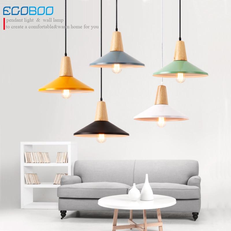 Single head Pendant Lights E27 lamp Wood And Iron Restaurant Bar Coffee Dining Room LED Hanging Light Fixture 100-240V AC