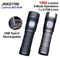 Новейший JKK21700 Luminus SST-40 белый 6500K 1600 люмен 6-режимный перезаряжаемый светодиодный фонарик типа C (1X21700)