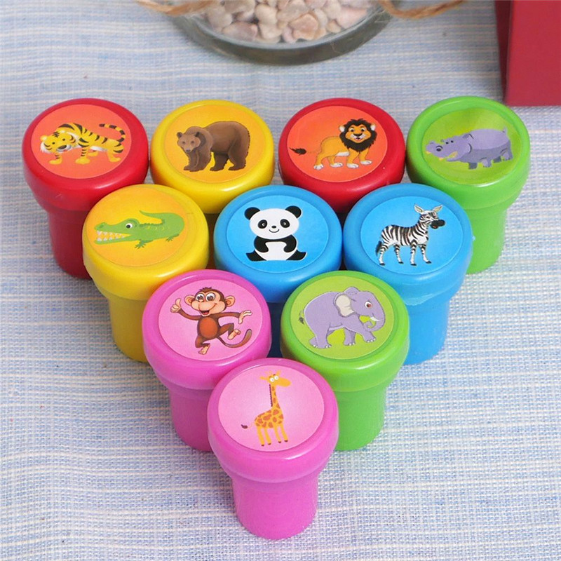 10PCS Self-ink Rubber Stamps Event Supplies Birthday Gift Toys Boy Girl Student Cute Stamps button