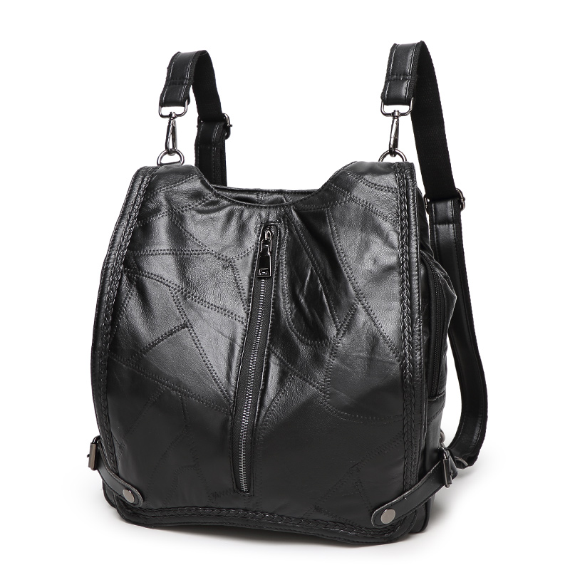 Wild fashion font b backpack b font female contracted trend Genuine leather stitching sheepskin casual shoulder