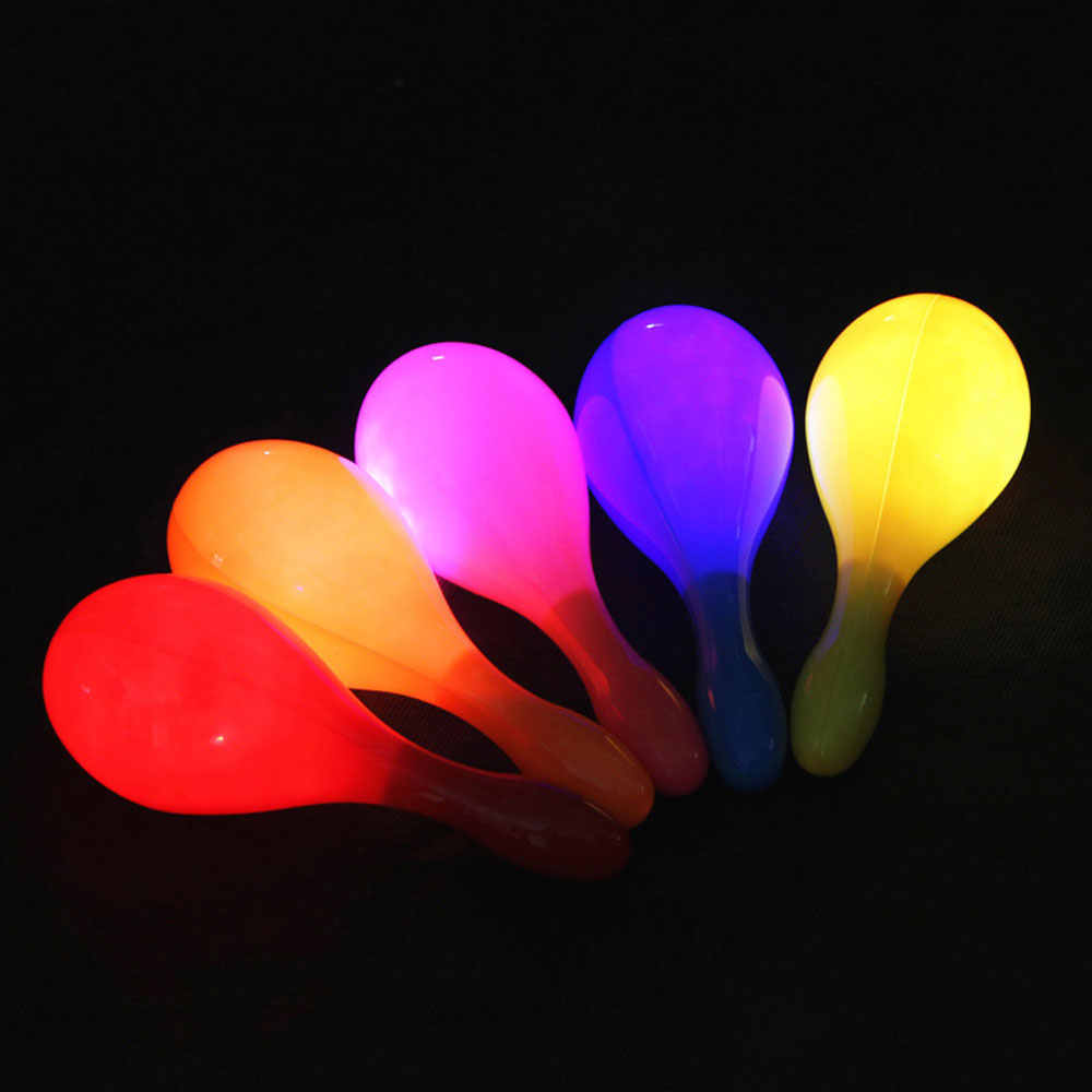 10PCS LED Maracas Flashing Light Up Shake Toy Cheering Party Concert Party Halloween Carnival KTV Cheer Props Random Color
