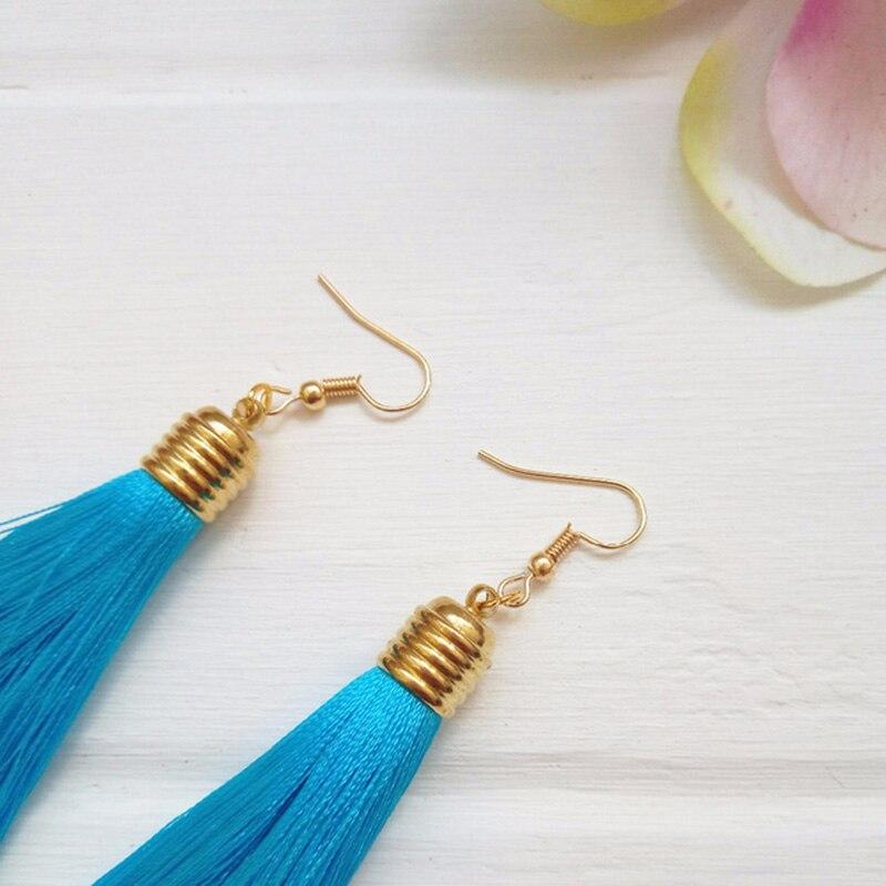 LZHLQ Vintage Ethnic Long Tassel Earrings Women 2020 Fashion Brand Jewelry Geometric Alloy Plating Simple Dangle Drop Earrings
