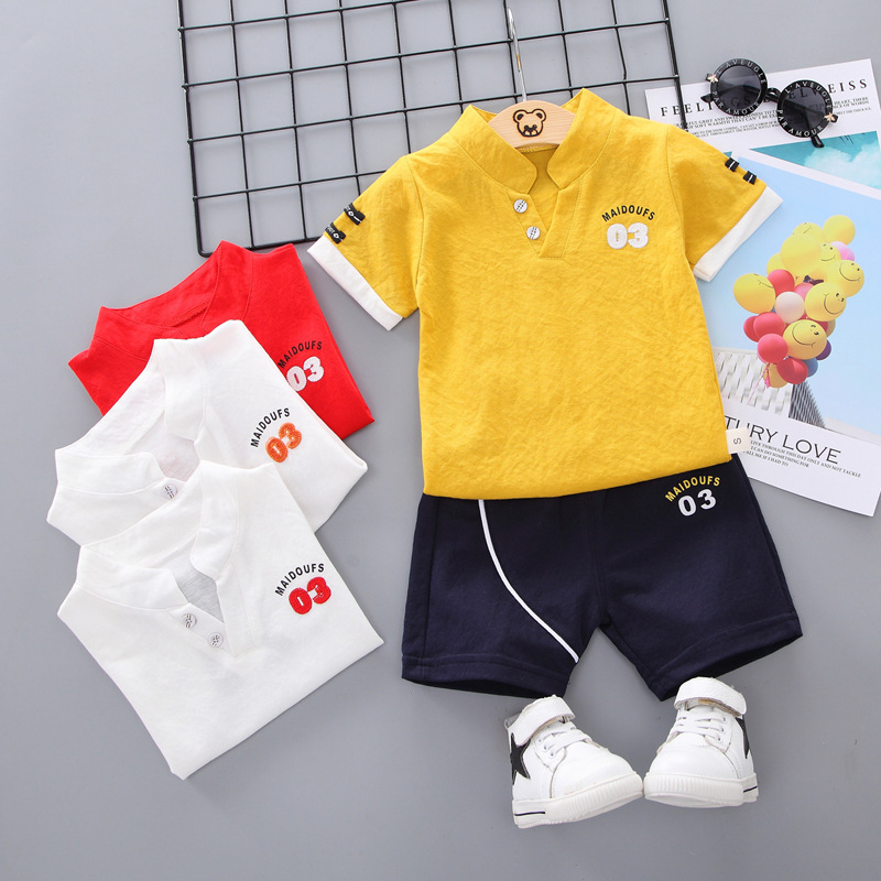 New Summer Casual Children Baby Short Sleeve Set Letters Fashion Standing Collar Shorts Two-piece