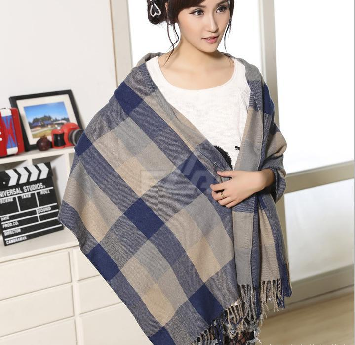 ce5ccc2ffd Fashion Cashmere Wool Scarf Bufanda Tassel Shawl Pashmina Bufandas Spain Thick  Plaid Women Winter Scarves-in Women's Scarves from Apparel Accessories on  ...