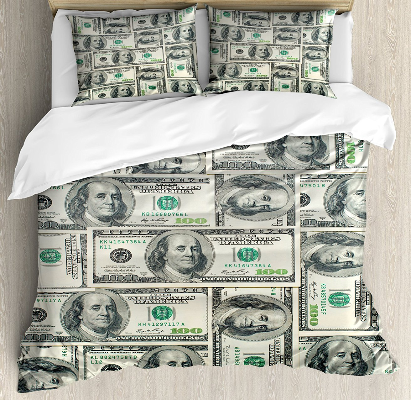 Money пододеяльник набор долларов купюр США Federal резерв с портретом Бена Франклина Декор 4 комплект постельного белья