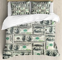 Money Duvet Cover Set Dollar Bills of United States Federal Reserve with the Portrait of Ben Franklin Decor 4 Piece Bedding Set