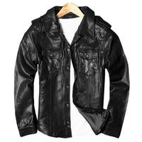 2018 Black Men Slim Fit Casual Leather Shirt Plus Size XXXL Russian Spring Genuine Thin Sheepskin Leather Coat FREE SHIPPING