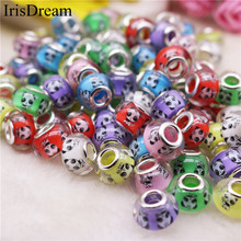 20Pcs/Lot Mixed Color Cute Panda Big Hole Crystal Glass Murano Beads Charms Fit DIY Pandora Bracelet For DIY Jewelry Making