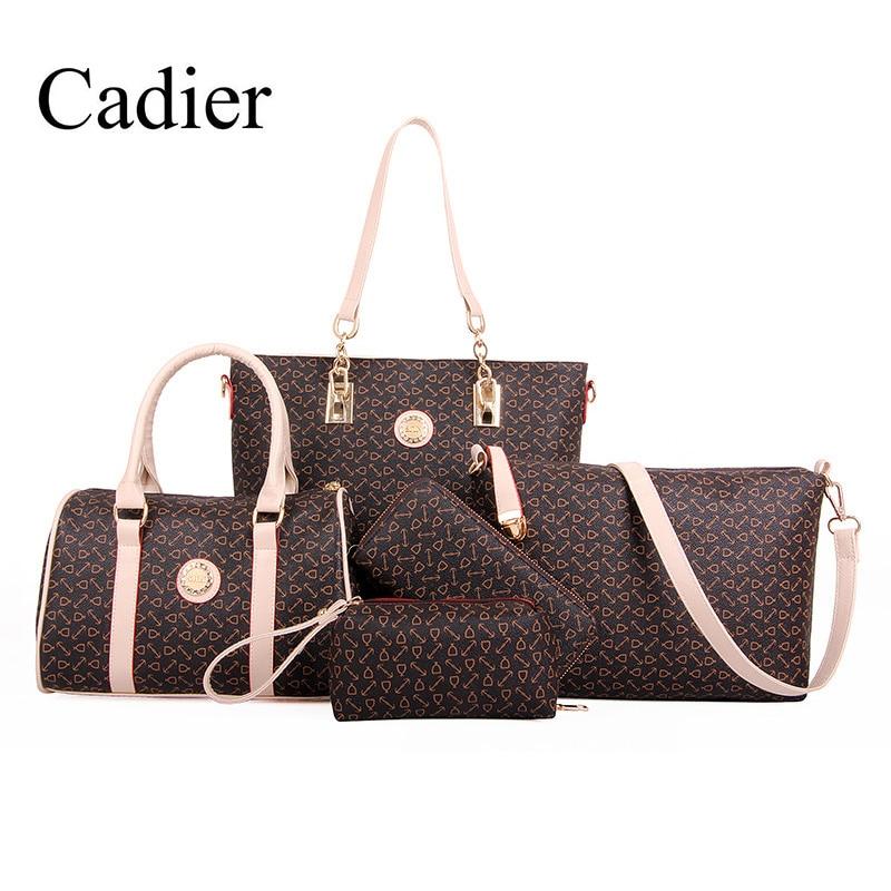ФОТО 5 Pieces Women Composite Shoulder Bag Tote Wallet Wristlet Messenger Bag Travel Bag Large Capacity Luxury Designer Women Handbag