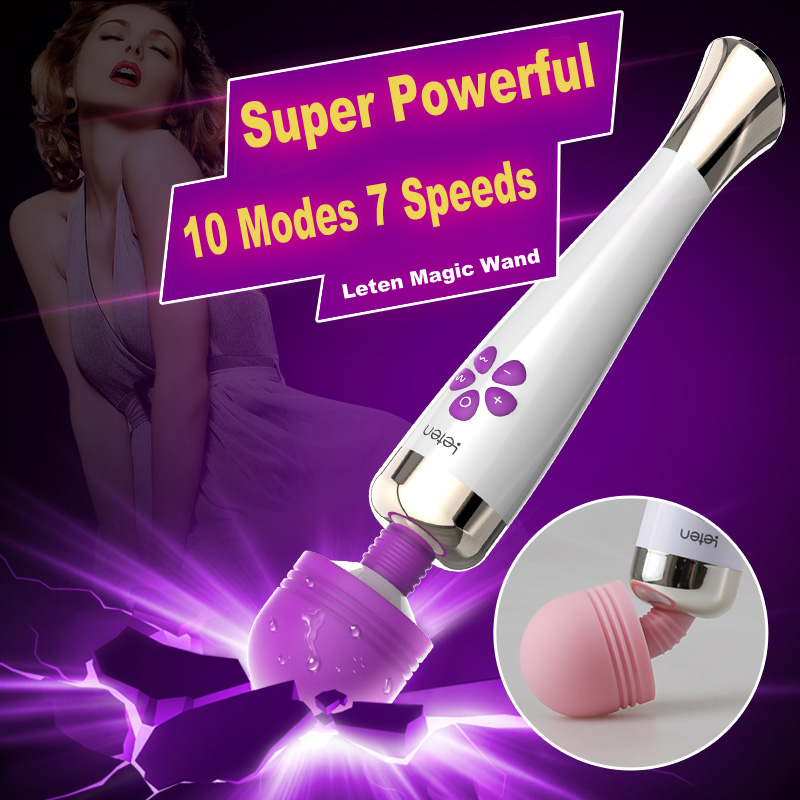 Leten Fantasy Super Powerful AV Vibrator, Waterproof Rechargeable 10 Frequency 7 Speed Magic Wand Massager, Sex Toys for Woman