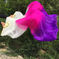 2pcs 1.8M hand-made dyed real silk dancing Fans long bellydance Bamboo ribs silk fan Veils wholesale