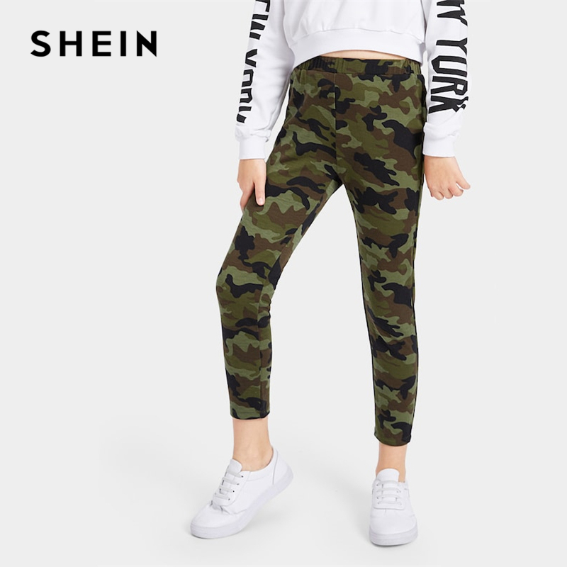 SHEIN Kiddie Elastic Waist Camo Print Casual Girls Pants 2019 Fashion Streetwear Straight Leg Trousers Girl Leggings Kids Pants solid self belted wide leg pants