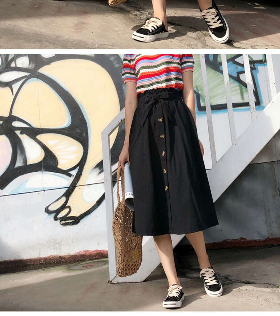 Gogoyouth Summer Skirts Womens 2018 New Midi Knee Length Korean Elegant Button High Waist Skirt Female Pleated Sun School Skirt 13