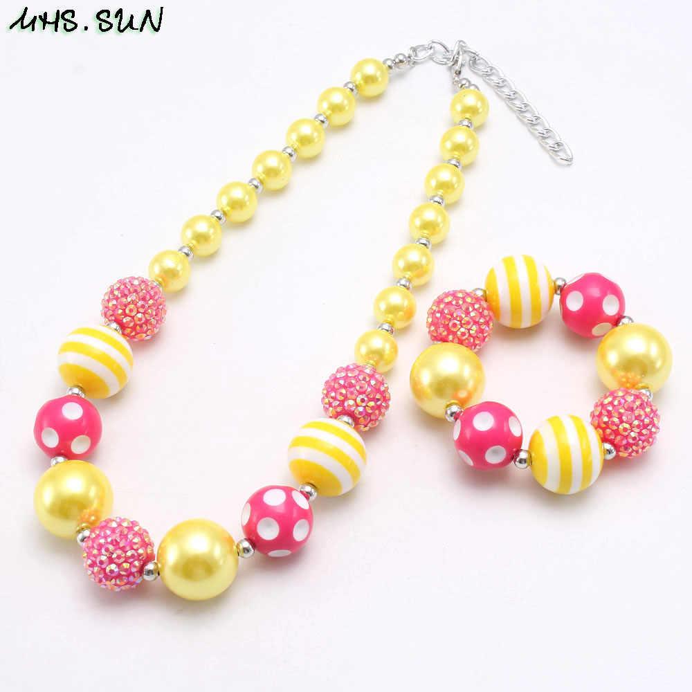 MHS. SONNE schöne chunky bubblegum perlen halskette für mädchen kinder geschenk diy handgemachte baby imitation perle halskette & armband 1 teil/los