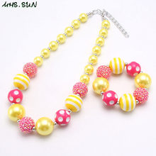 MHS.SUN lovely chunky bubblegum beads necklace for girls kids gift diy handmade baby imitation pearl necklace & bracelet 1pc/lot(China)
