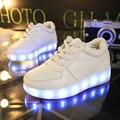 Tamanho 26-35 USB Recarregável Crianças Cesta Brilhante brilhante das crianças sapatos com luz de preenchimento de LED sapatos Casuais para meninos e meninas